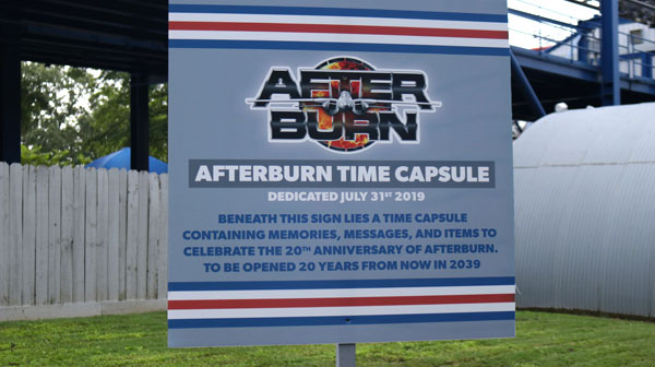 Time Capsule to Commemorate the 20th birthday of Afterburn Roller Coaster