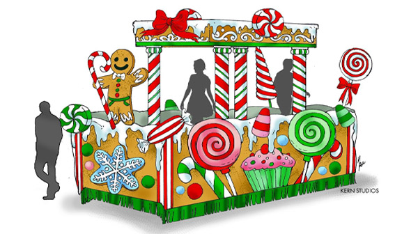 A candy-themed float that will be present at Carowinds' holiday festival