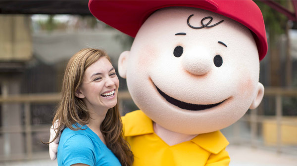 Charlie Brown posing for a photo at the PEANUTS Celebration at Carowinds