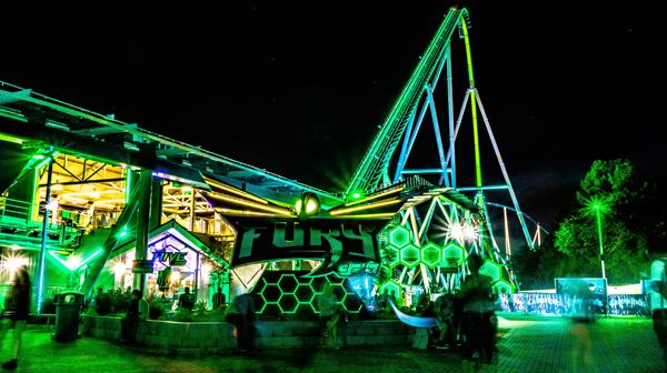 Carowinds Fury 325 Roller Coaster at Night