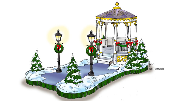 A gazebo float that will be at the WinterFest Wonderland Parade at Carowinds
