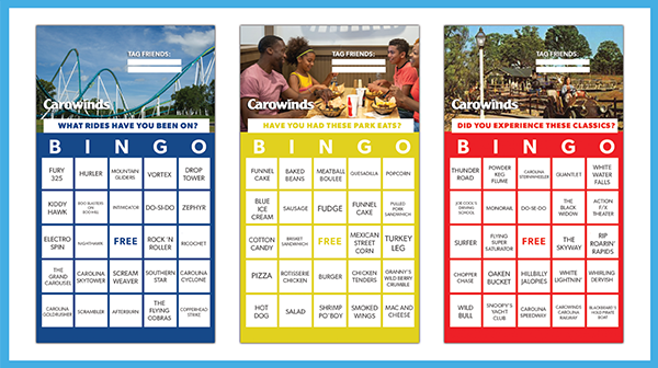 Carowinds' Free Bingo Game Card