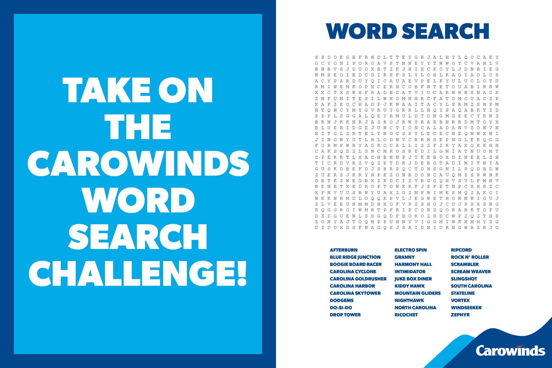 Downloadable & Printable Word Search from Carowinds