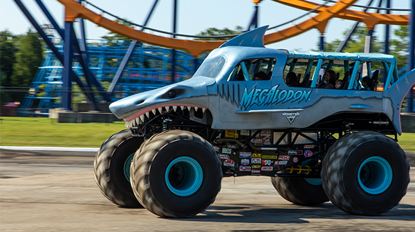 Megalodon during a Monster Jam rally coming to Carowinds in 2020!