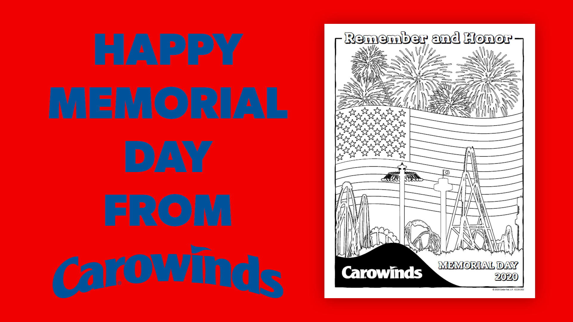 Memorial Day Patriotic Printable Coloring Pages from Carowinds