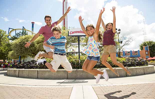 Family Enjoying Carowinds Amusement Park in North and South Carolina