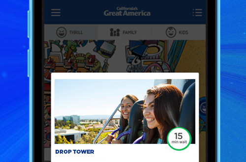 California's Great America Mobile App Ride Wait Times