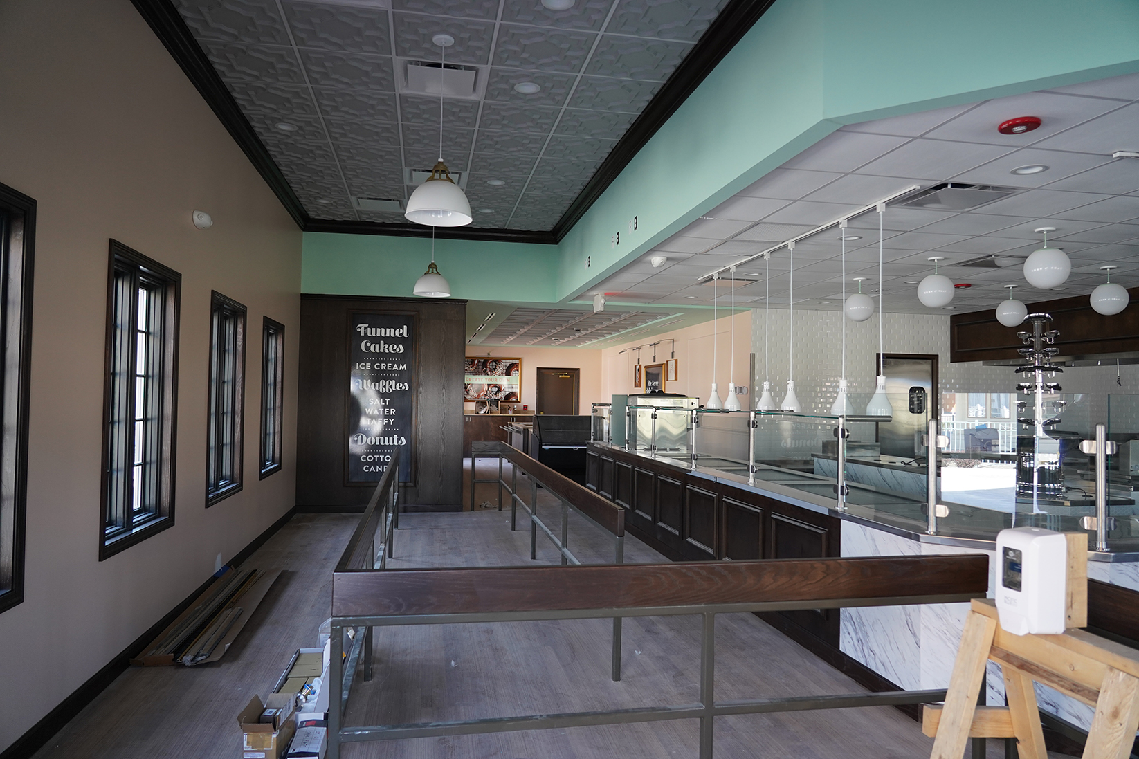 Renovated bakery interior at Cedar Point's French Quarter Confections