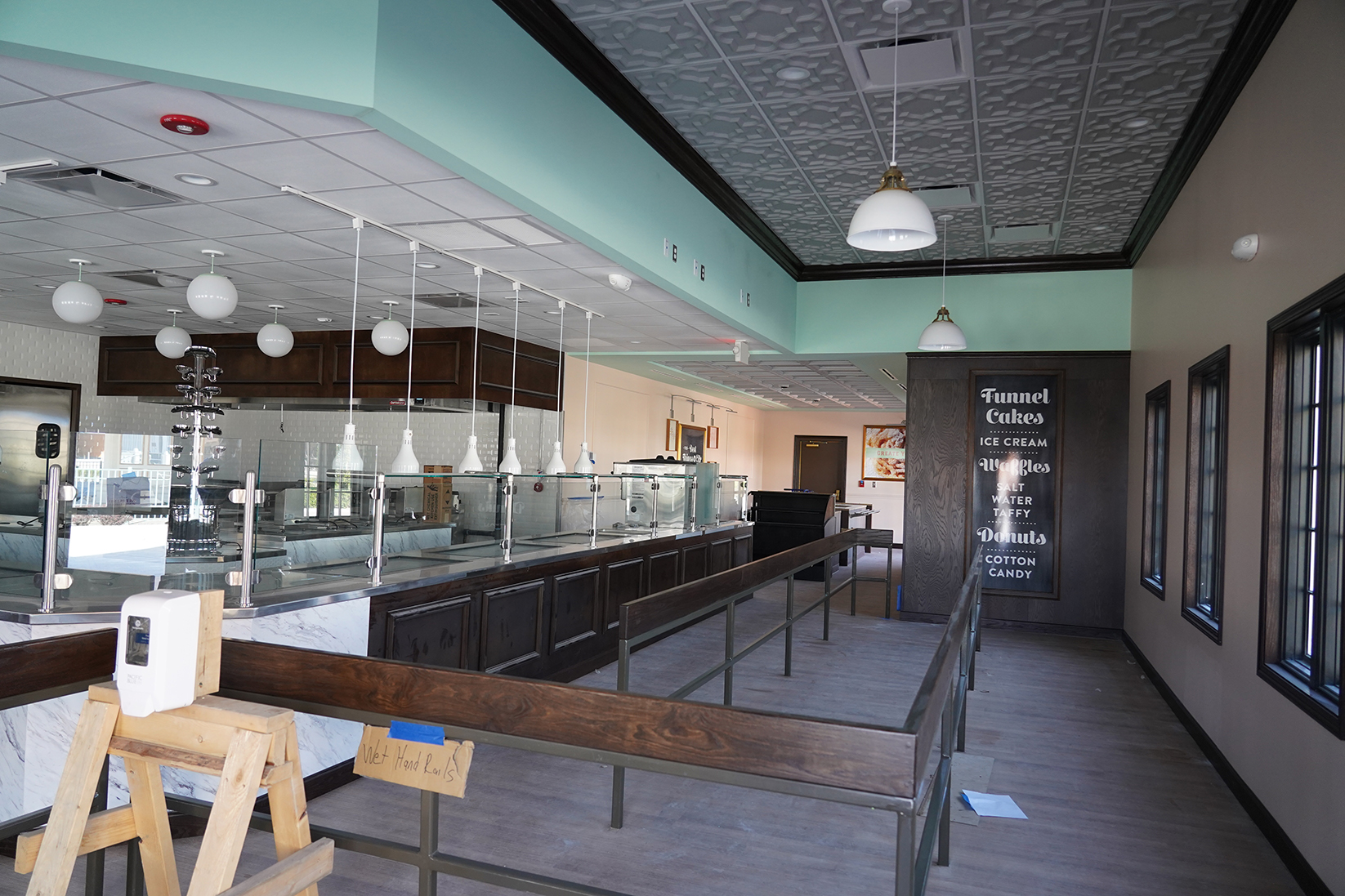 Renovated interior of ice cream shop, French Quarter Confections at Cedar Point