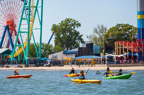 Kayaks on Lake Erie at Cedar Point