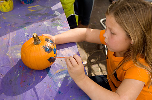 Lucy's Pumpkin Painting at Cedar Point's Halloween Event