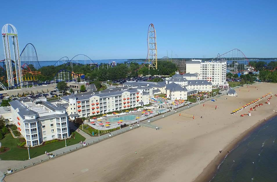 Aerial View of Hotel Breakers and Beach