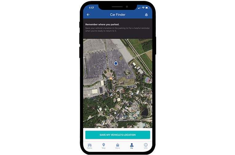 Kings Dominion Mobile App Car Finder