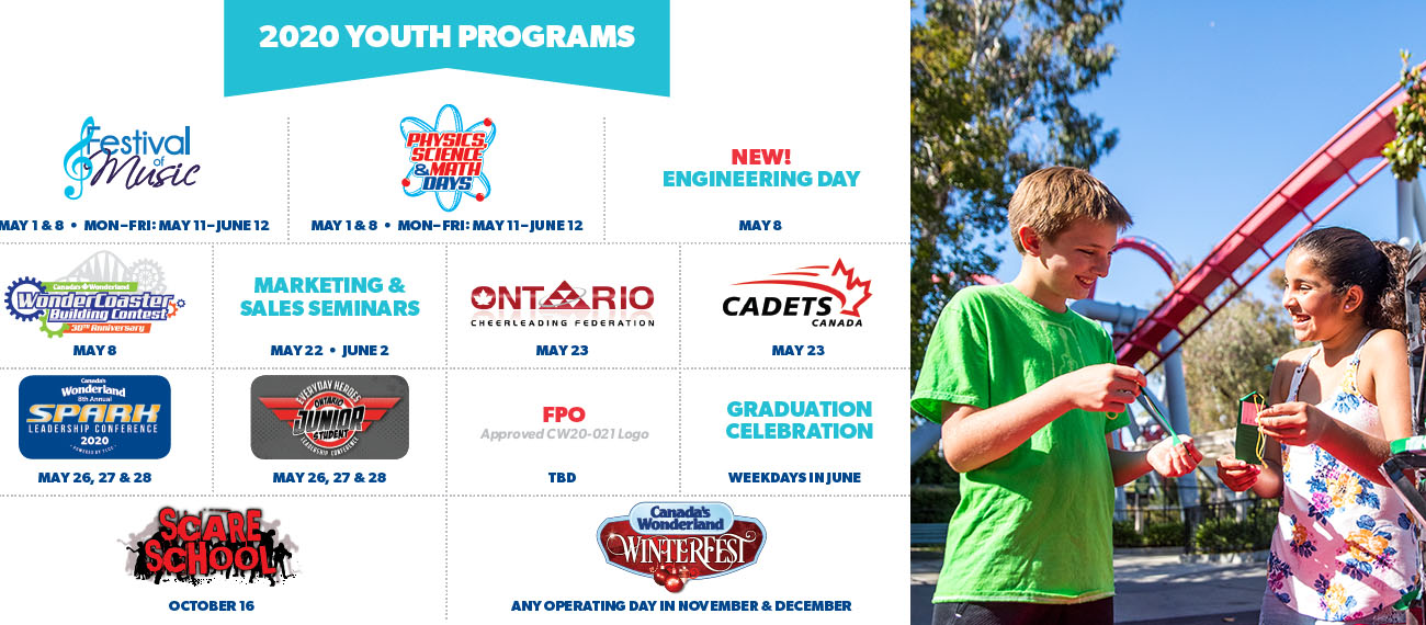School field trip opportunities at Canada's Wonderland during the 2020 Season