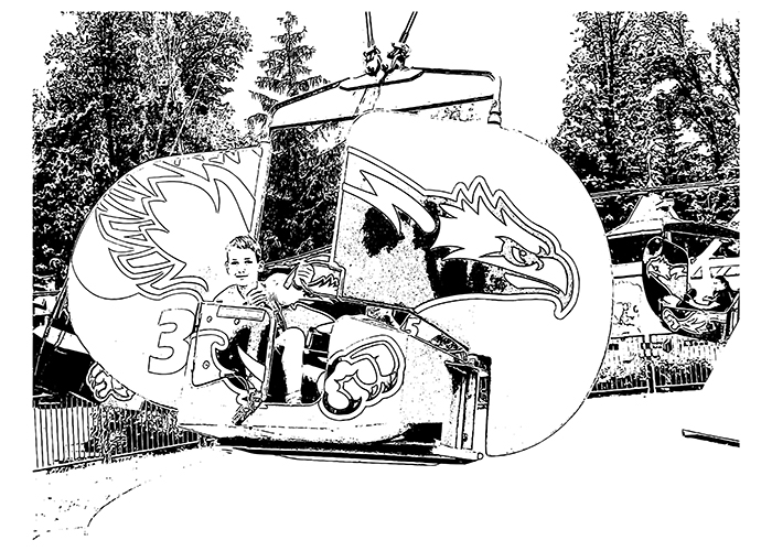 Printable colouring page featuring Flying Eagles Canada's Wonderland