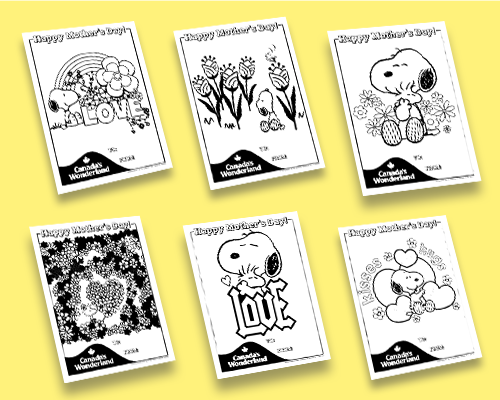 Canada's Wonderland Colouring Sheets for Mothers Day