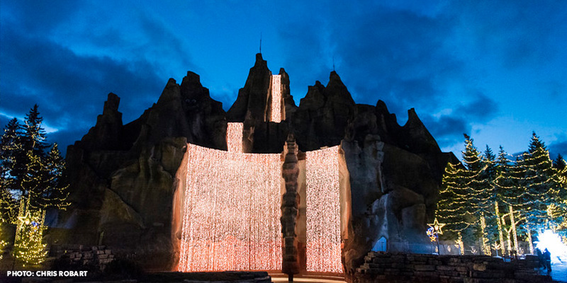A winter waterfall made of beautiful Christmas lights at WinterFest!