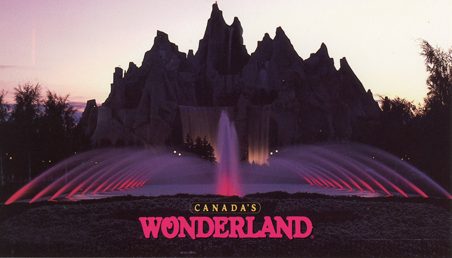 Wonder Mountain by evening at Canada's Wonderland postcard
