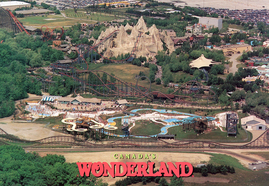 Canada's Wonderland aerial view Splash Works circa 1992