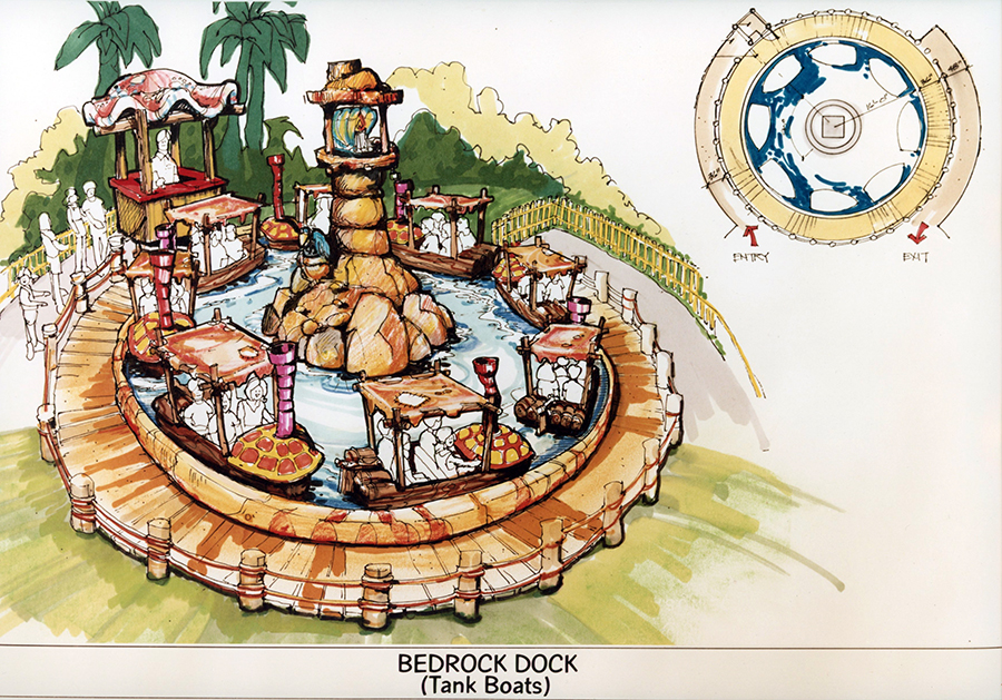 Historic rendering of Bedrock Dock at Canada's Wonderland