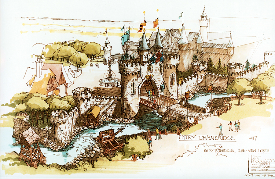 Historic rendering of Medieval Faire drawbridge at Canada's Wonderland