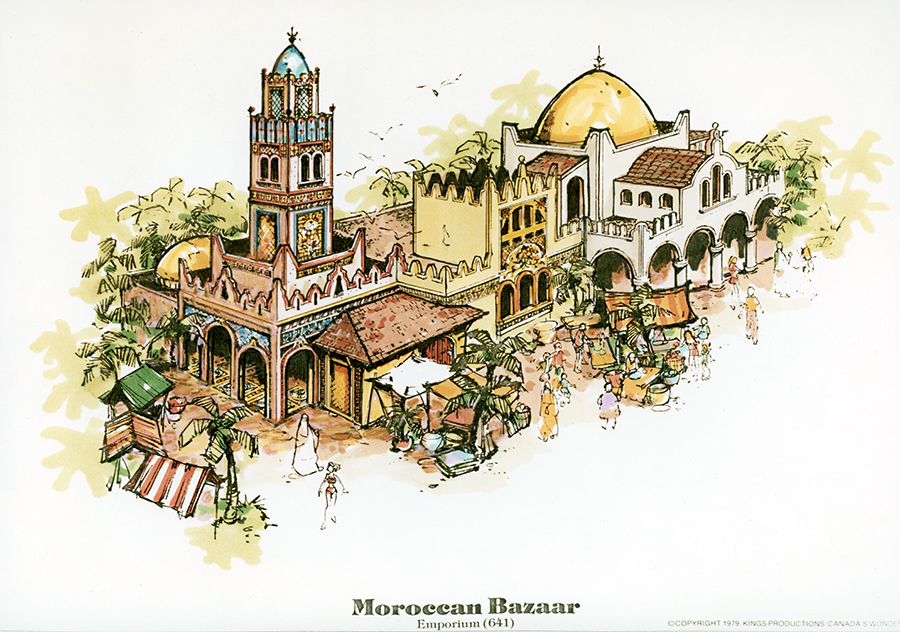 Original artist rendering of the Moroccan Bazaar at Canada's Wonderland