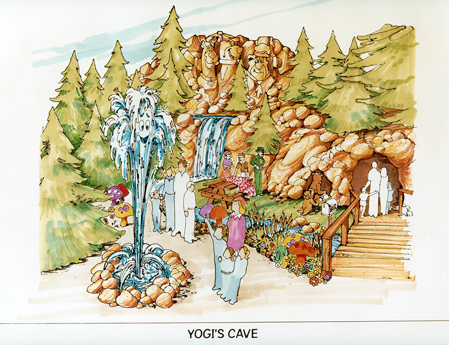 Historic rendering of Yogi's Cave at Canada's Wonderland