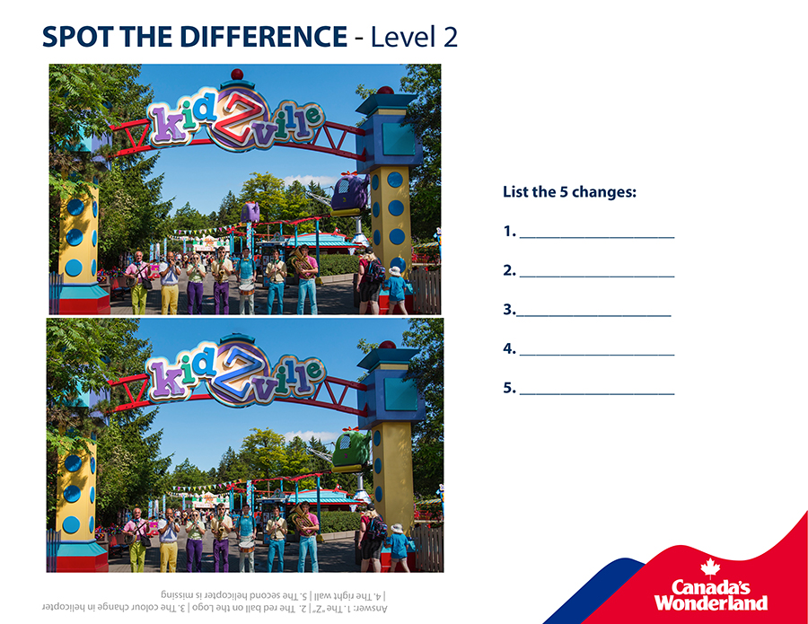 Spot the difference in this Kidzville scene from Canada's Wonderland