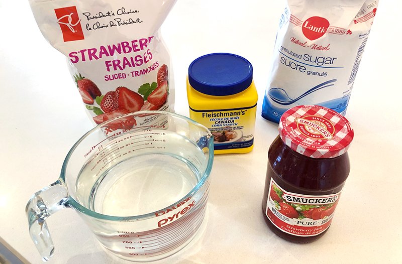 Ingredients needed for funnel cake strawberry sauce