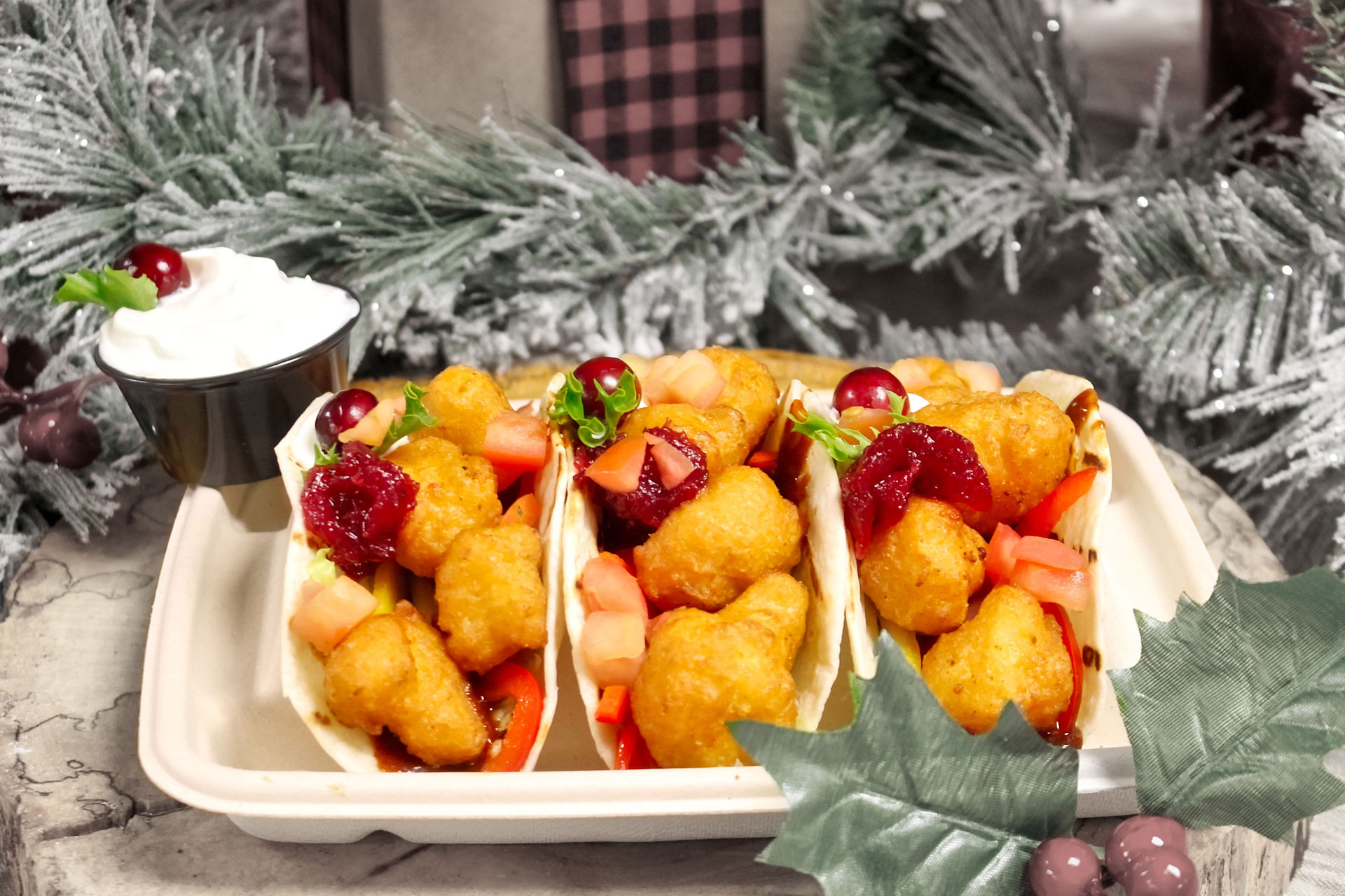 Deep-Fried Cauliflower Tacos are available during WinterFest!