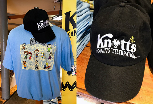 ce1b28925a The baseball cap also looks great when paired with the new Knott s Peanuts  Celebration Shirt for  14.99. The 100% cotton shirt features eleven of the  ...