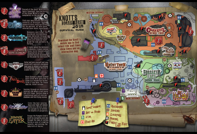 Knotts Scary Farm Map Knott's Scary Farm Nightmare Navigator and Event Guide   Knott's  Knotts Scary Farm Map
