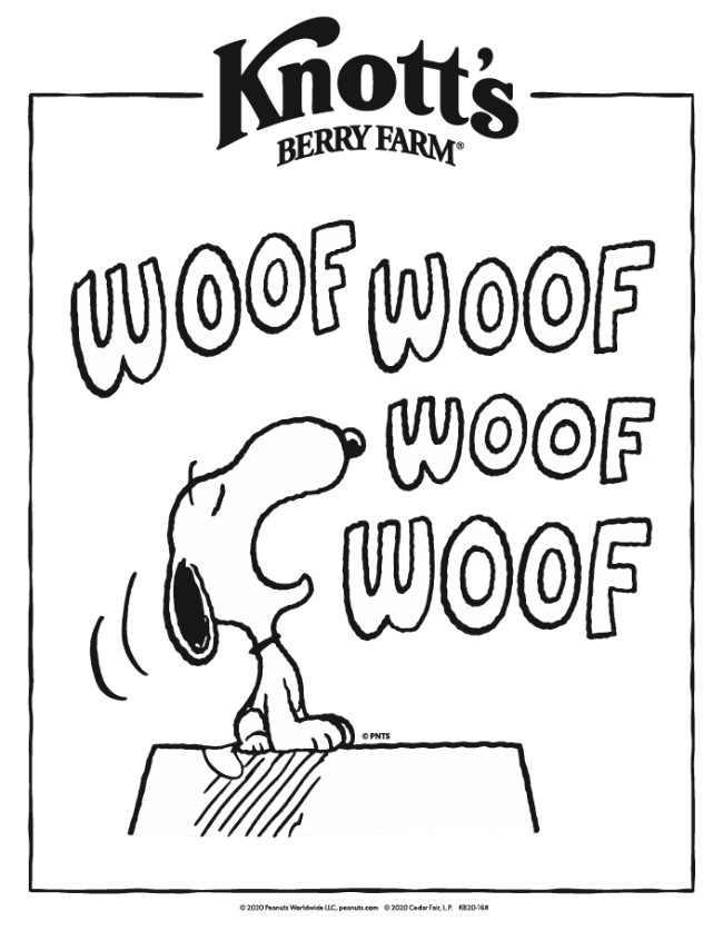 Printable Snoopy coloring pages from Knott's Berry Farm