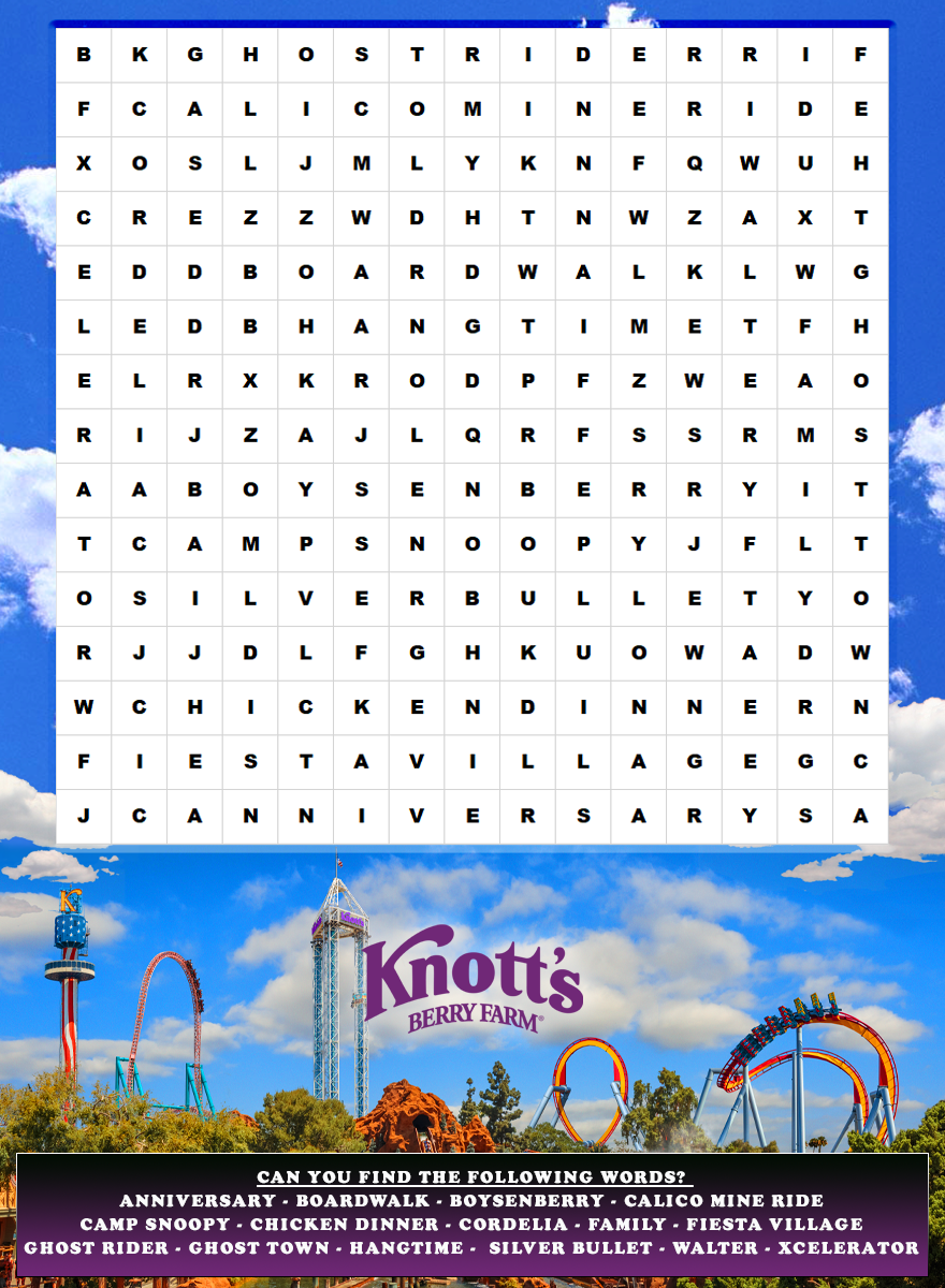 Printable word search game from Knott's Berry Farm