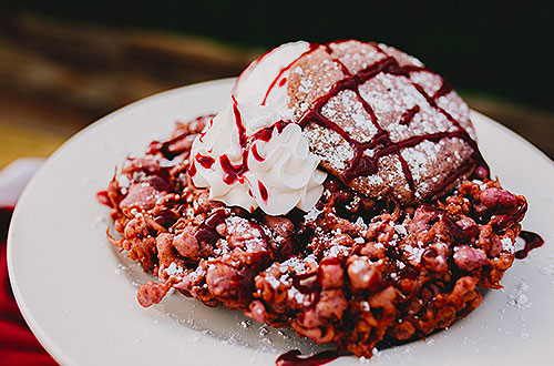 Boysenberry Funnel Cake with Boysenberry Cookie & Ice Cream