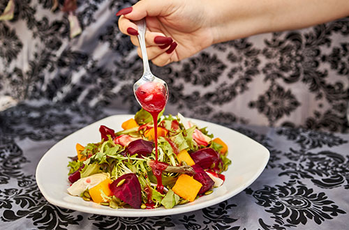 Beeting Hearts Salad (Mixed Greens Roasted Beets and Butternut Squash)