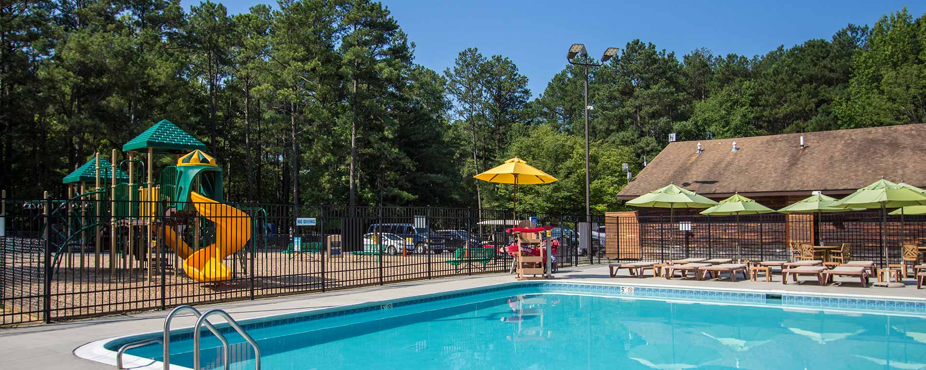 Relaxing Pool & Playground at Kings Dominion KOA Camp Site