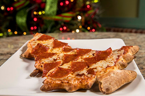 Festive Food, including these Christmas tree pizzas are available during WinterFest