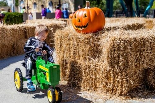 Child playing on a tractor at Kings Dominion's Kids Halloween Event