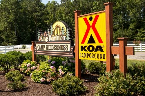 The entrance to Kings Dominion KOA Campground near Richmond, VA