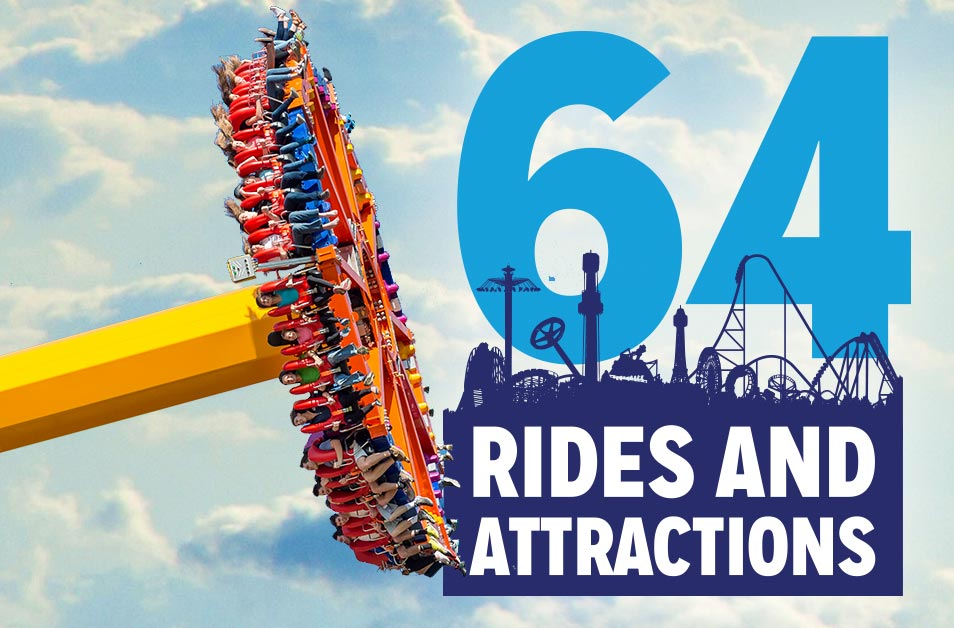 64 Rides and Attractions
