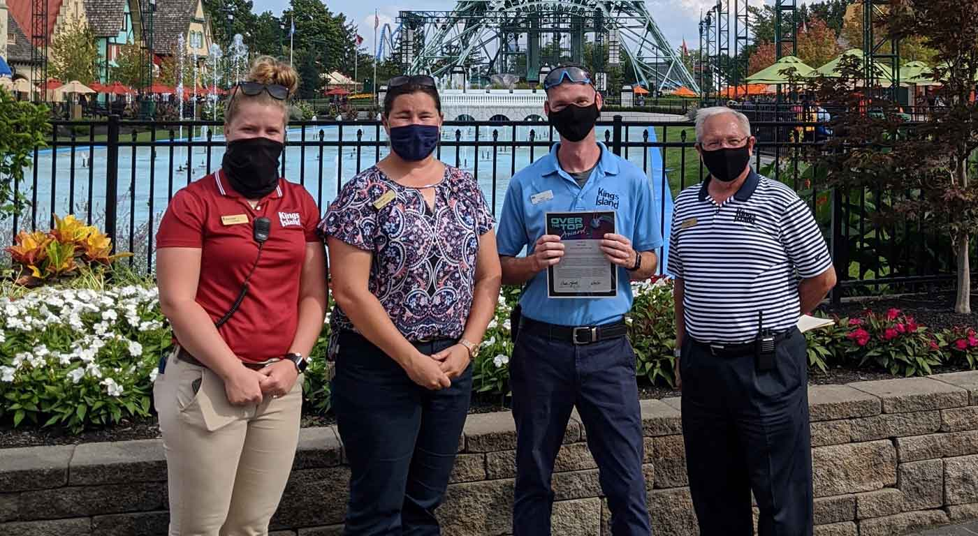 Kings Island employees receive the Over the Top award from General Manager