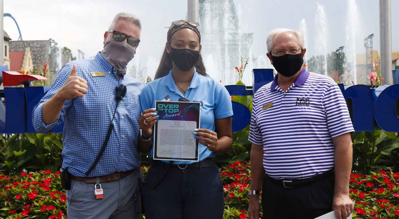 Part-Time associate presented with Over the Top Award at Kings Island