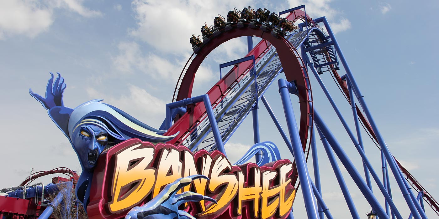 Banshee, the world's longest steel inverted roller coaster