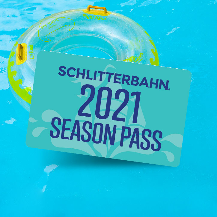 Schlitterbahn Season Pass Card Against Tube in Water Background