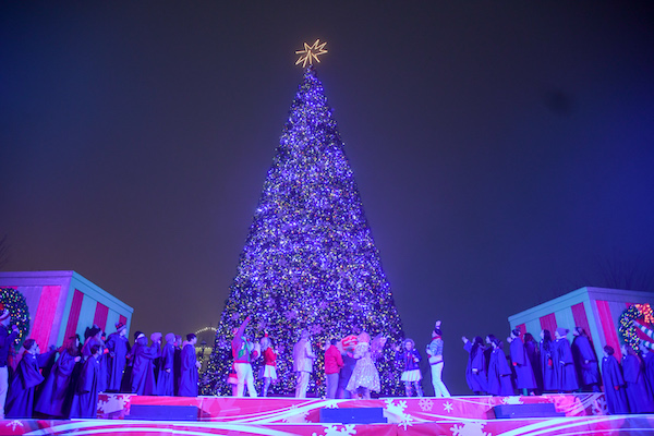 The Christmas Tree Lighting Ceremony at Worlds of Fun's Christmas Event