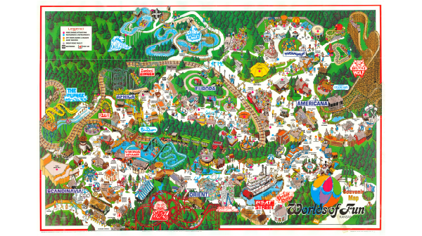 Worlds of Fun Park Map from 1995