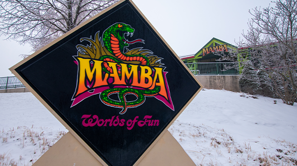 Snow covers the sign of Mamba, a roller coaster and most popular of Kansas City attractions.