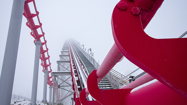 Snow photography showing off Mamba, a roller coaster at Worlds of Fun