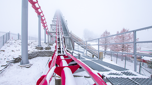Snow and fog cover Mamba at Worlds of Fun